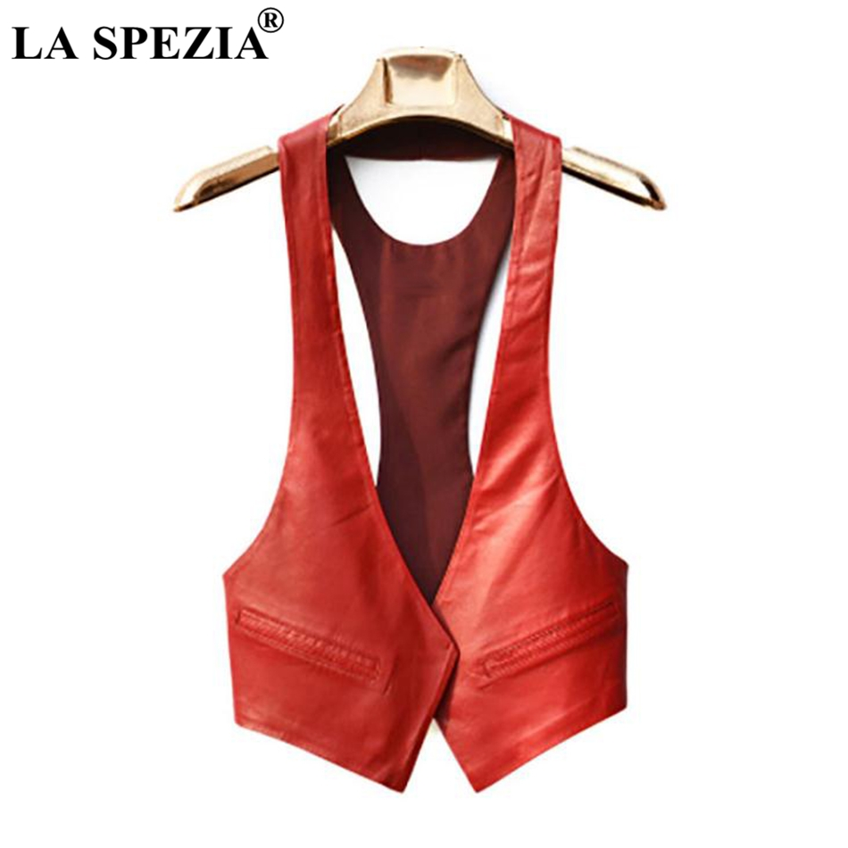 LA SPEZIA Short Vests Woman Leather Slim Red Waistcoat Pockets Ladies Office Real Leather Cardigan Casual Autumn Fashion Vest