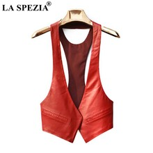 LA SPEZIA Short Vests Woman Leather Slim Red Waistcoat Pockets Ladies Office Real Leather Cardigan Casual Autumn Fashion Vest(China)