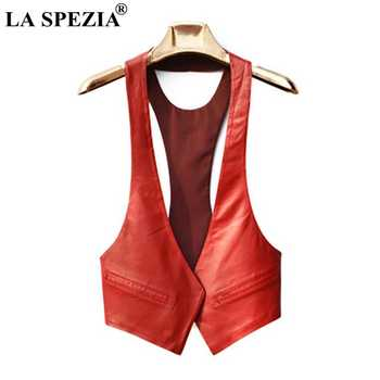 LA SPEZIA Short Vests Woman Leather Slim Red Waistcoat Pockets Ladies Office Real Leather Cardigan Casual Autumn Fashion Vest - DISCOUNT ITEM  57% OFF All Category
