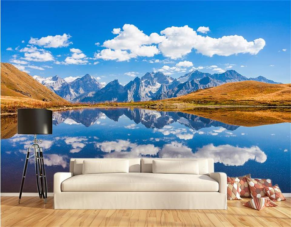 3d photo wallpaper custom living room non-woven mural blue sky landscape lake 3d picture sofa TV background wall mural wallpaper free shipping large wall painting background wallpaper non woven living room sofa 3d wallpaper mural