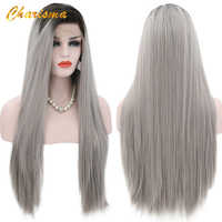 Charisma Long Silky Straight Synthetic Lace Front Wigs Grey Dark Roots Ombre Wigs 24 Inch With Natural Hairline Wigs For Women