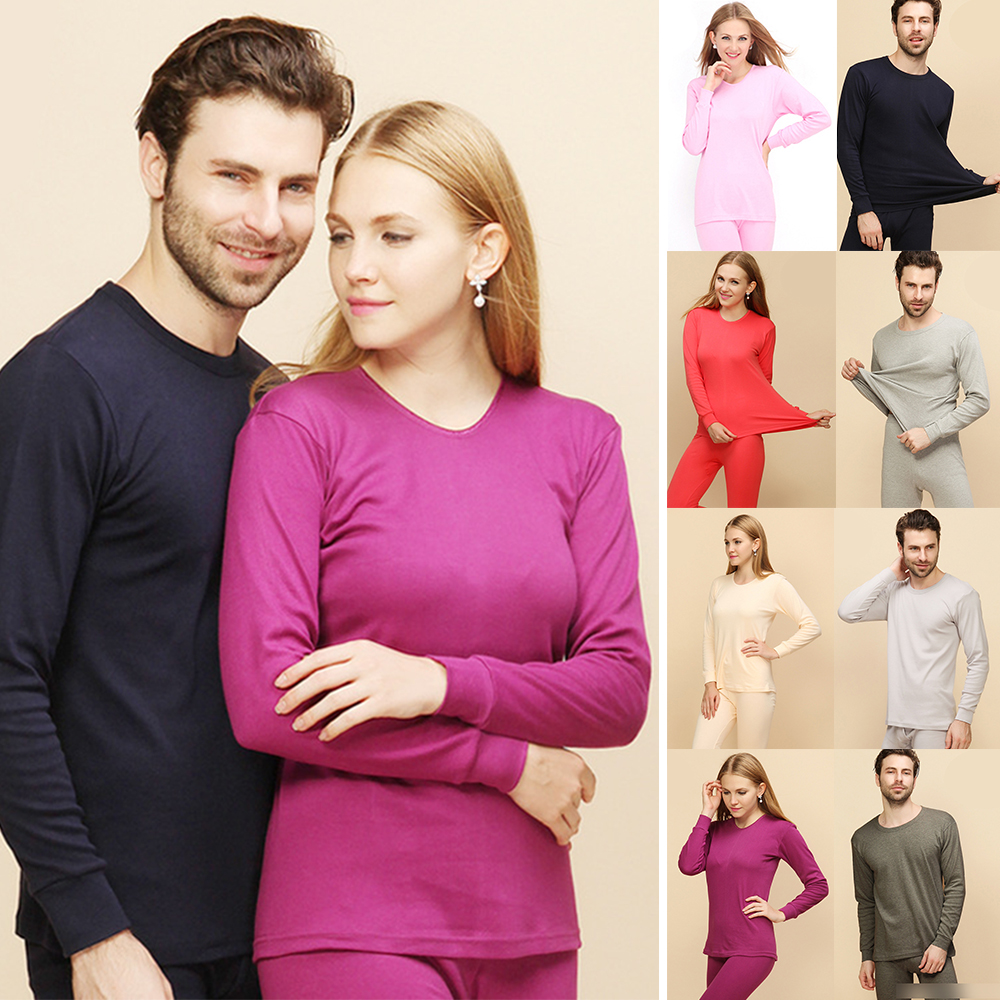 Winter 100% Cotton Unisex Couples Long Johns Thick Men Women Thermal Underwear Sets Keep Warm For Russian Canada And European