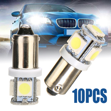 Bombilla LED blanca para iluminación de coche, T11 BA9S 5050 5 SMD, fuente de luz de 12V, T4W 3886X H6W 363 Mayitr, 10 unidades por lote