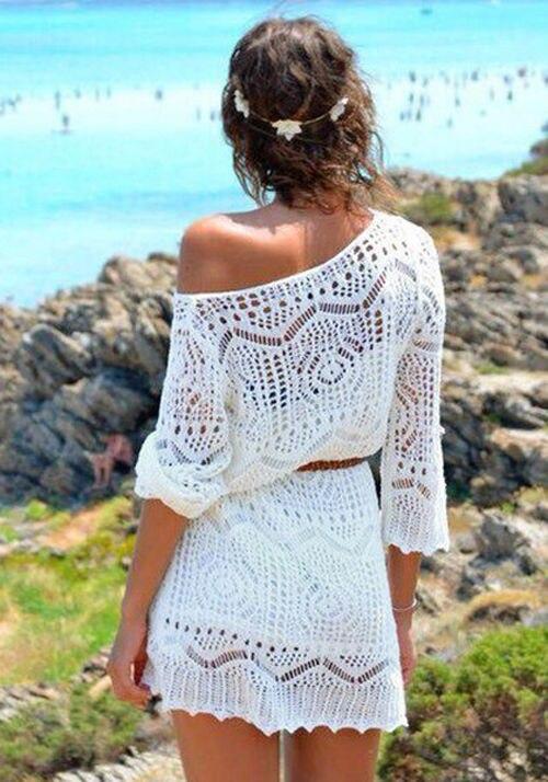 2016 New Arrive Sexy Women Lace Crochet Bikini Cover Up Swimwear Bathing Suit Summer Beach Dress Seaside clothing dress 3