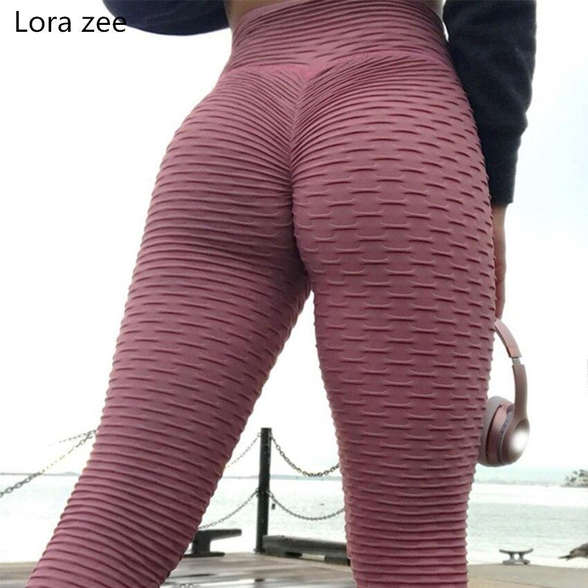 LORA ZEE twerk booty legging fitness feminina rock black push up gym sport leggings breathable sportswear yoga pants 2018 Лосины