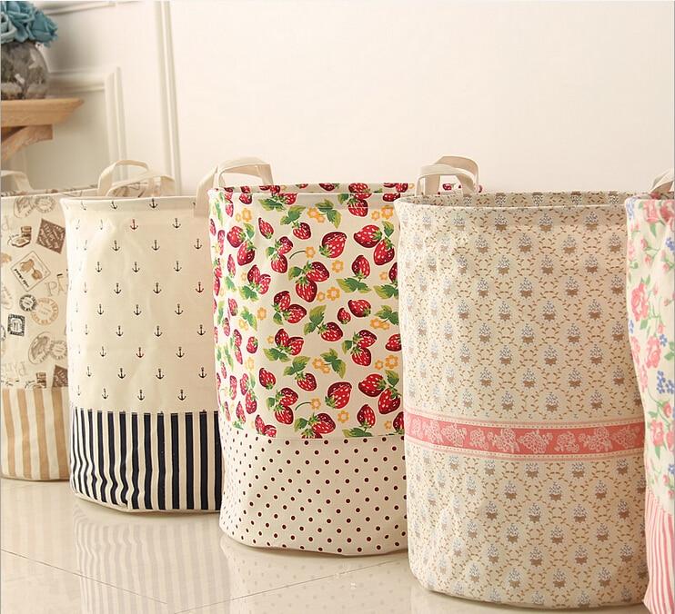 Free Shipping!Large Capacity Laundry Basket House Cloth Storage Case Cotton+Linen Storage Bag Mix design Hot Selling