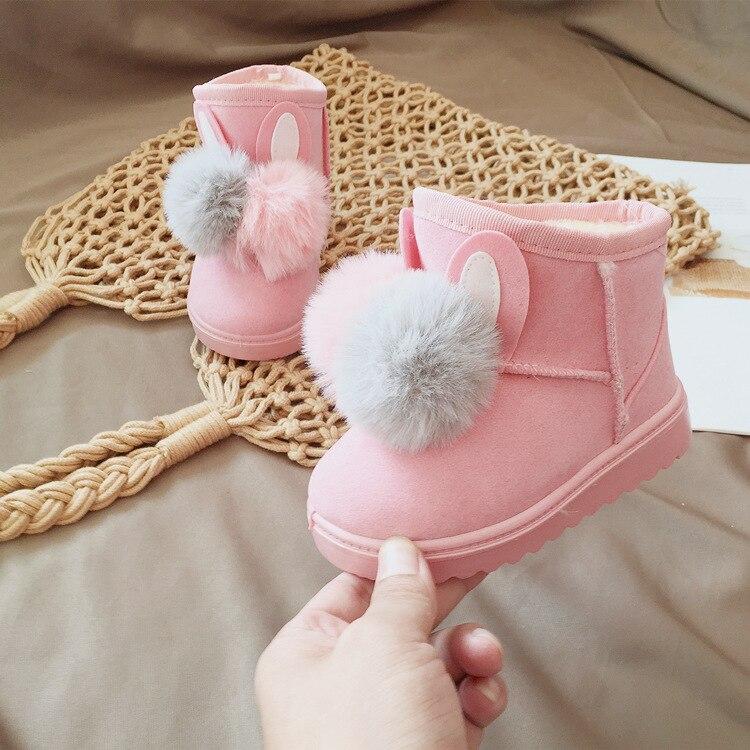 Winter warm velvet rabbit ball baby girls snow boots for boys kids fashion boots children flat shoes 13 20.5cm