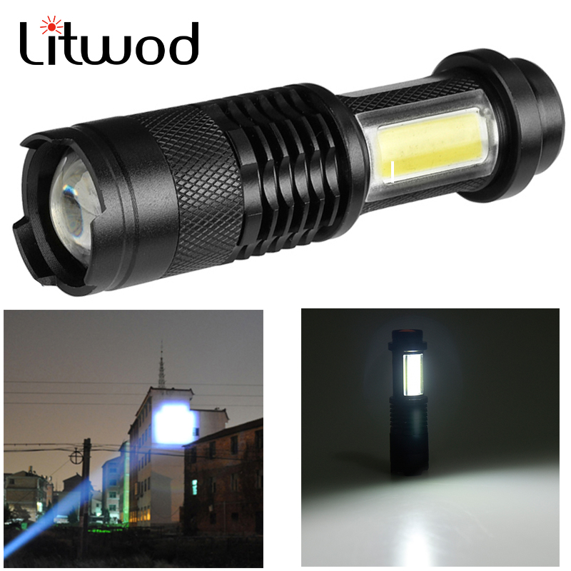 SK68C LED MINI Flashlight Q5 & COB Zoom Waterproof Aluminum 4 Modes Torch Use 14500 Or AA Battery For Camping Working
