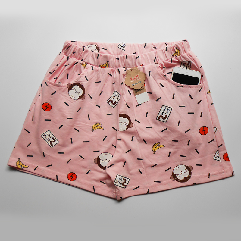 Female short pajama pants thin plus size summer cotton animal print with pockets home shorts