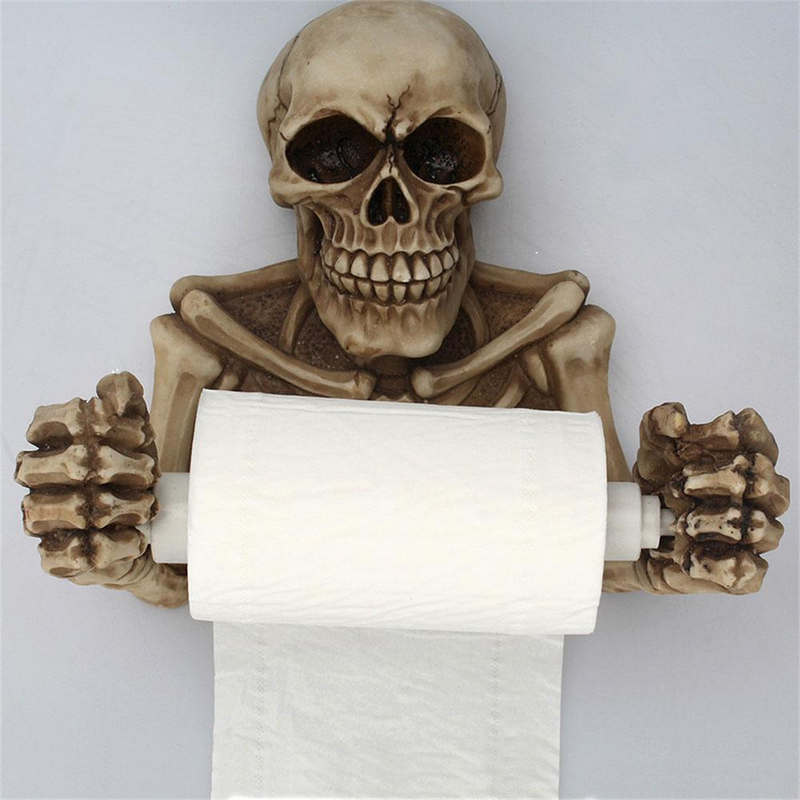 1pc Creative Skull Toilet Paper Towel Roll Holder Wall