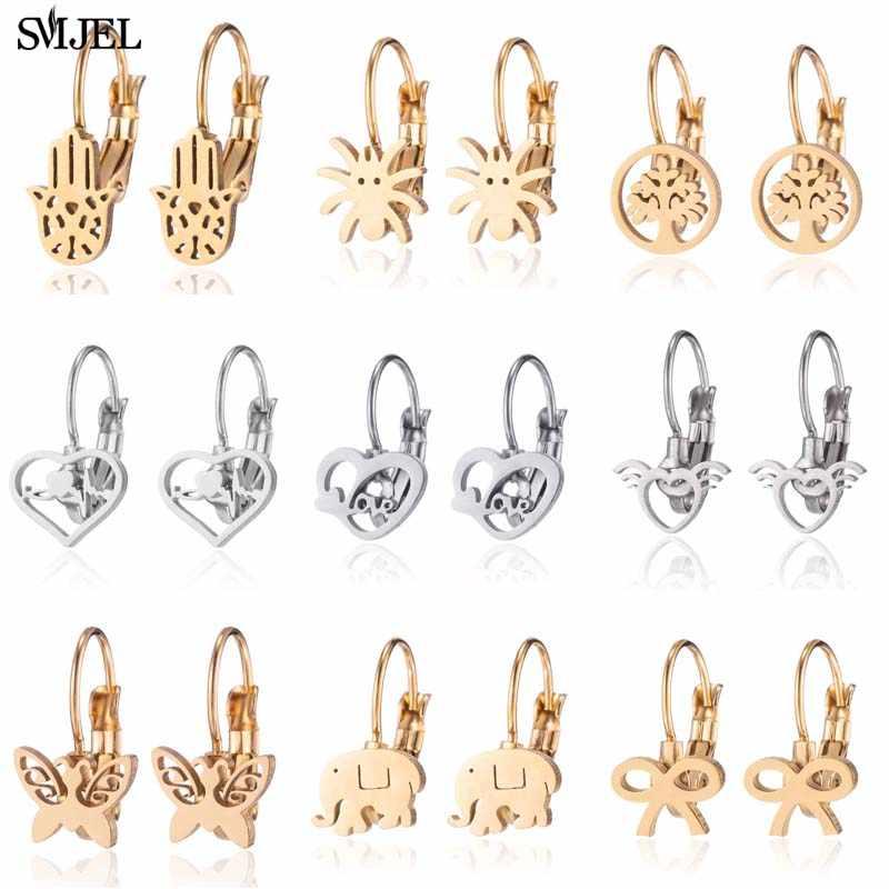 SMJEL Cartoon Princess Crowns Earrings Women Handmade Tiara  Queen Crown Wedding Ear Accessories Best Friend aretes de mujer