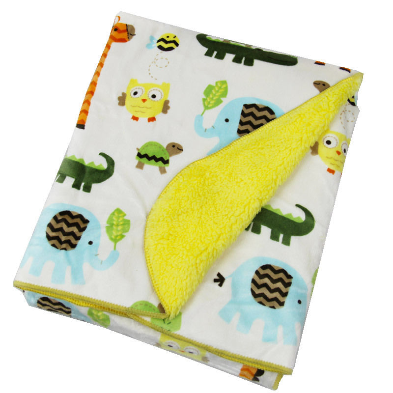 High Quality Winter Baby Blanket Thicken Warm font b Double b font Layer Swaddle Soft Cartoon