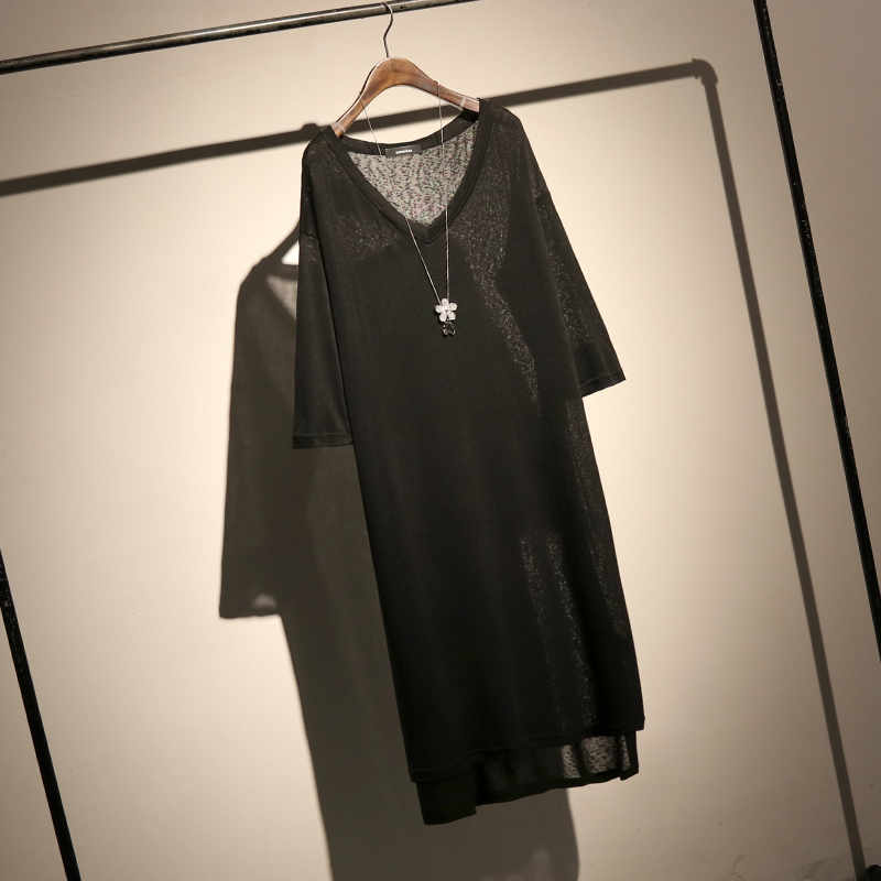 4b European and American simple solid color V neck knit T shirt female long loose sleeve