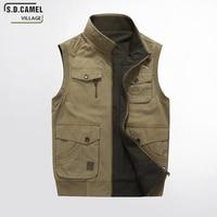 S.D.CAMEL VILLAGE Men's Vests 100% Cotton Sleeveless Classic Casual Waistcoat Multi Pocket Cargo Military Jacke Plus Size M 8XL