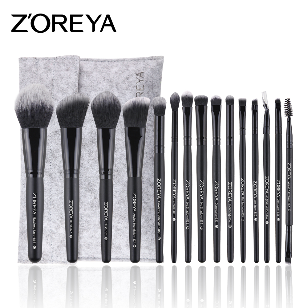 ZOREYA Makeup Brushes 15pcs Professional Makeup Brush Set With Bag As Essential Cosmetics Tool(China)