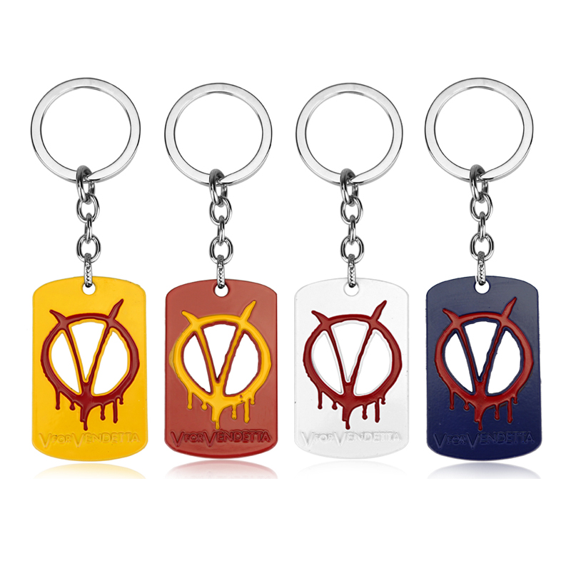 4 Color V for Vendetta Key Chain Dog Tag Key Rings Souvenir Chaveiro Car Keychain Movie Key Holder Accessories Dropshipping image