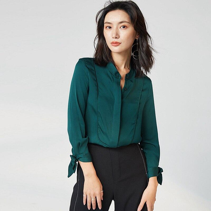 Estilo Mujer Seda Moda Color 2 Verde Redondo Sólidas Hasta Mangas Camisa De Para Nueve Encaje Nueva Cuello Cuartos Marfil Oscuro Blusa de 100 Oficina Colores Pesada Elegante 2018 f1XUUx