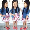 Conjuntos de ropa de moda bebé cabritos de las muchachas de impresión flora vestido + denim jeans abrigos chaquetas outwear dos piezas trajes S1749