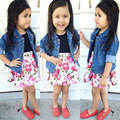 fashion clothing sets baby girls kids print flora dress+denim jeans coats jackets outwear two piece suits S1749