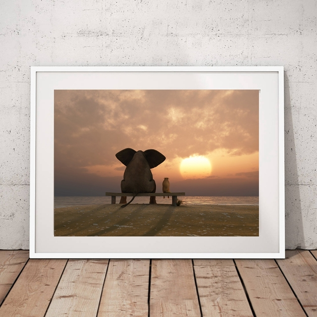 Elephant And Dog Looking At Sunset Canvas Painting Modern Prints Wall Pictures For Living Room Home & Elephant And Dog Looking At Sunset Canvas Painting Modern Prints ...