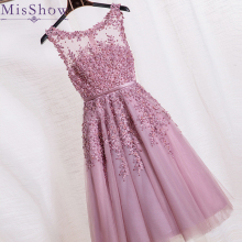 Cocktail Dresses Knee Length Sexy Pink Lace Short Party Gown Scoop Neck Sleeveless robe Formal