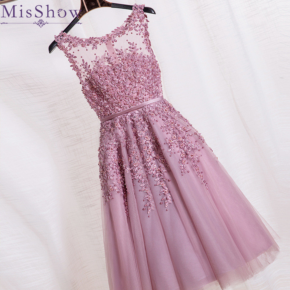 Pink Lace Knee Length   Cocktail     Dresses   A line Pearl Short Coctail Party Gown Scoop Neck Sleeveless robe formal 2020