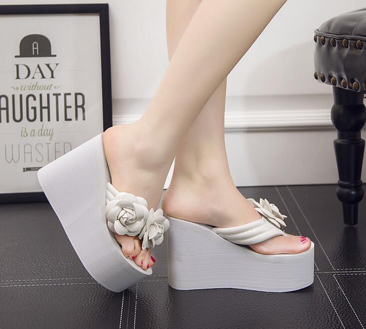 11 см флип-флоп клинья каблуки летние сандалии тапочки обувь женщина женщины девушки пляж обуви свет нижней платформе с цветами ручной работы