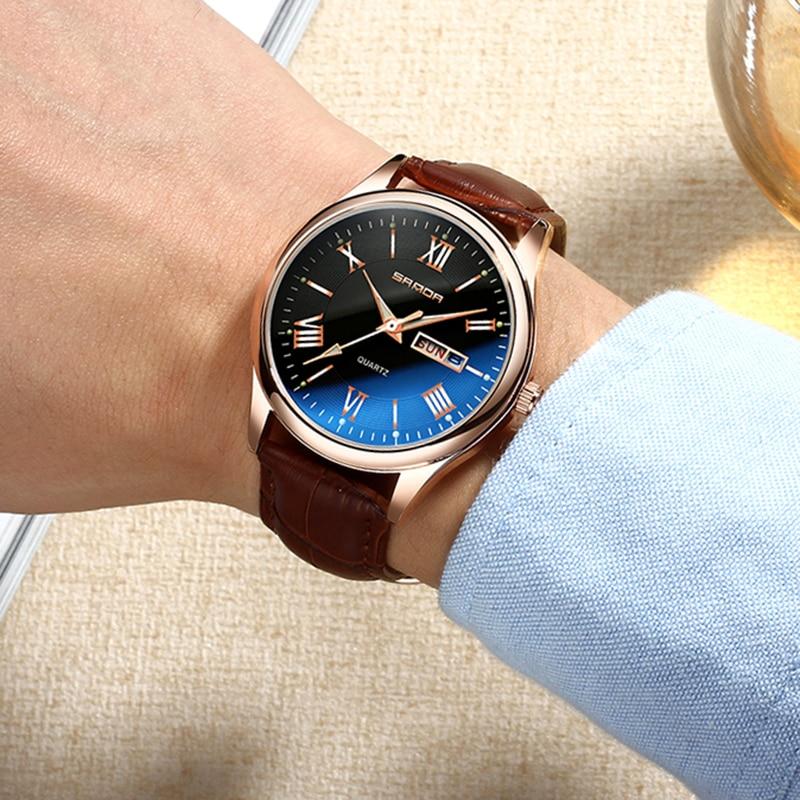 be242eba160 2018 SANDA Couro Calendário Relógios Top Marca de Luxo Relógio de Pulso  Luminoso Bussiness dos homens Semana Ouro Relógio relogio masculino 213 em  Relógios ...