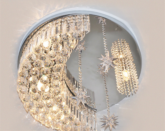 Modern crystalline absorb children lamps restaurant stars lamp modern crystalline absorb children lamps restaurant stars lamp moon k9 crystal ceiling lamps dome lights chrome mozeypictures Gallery