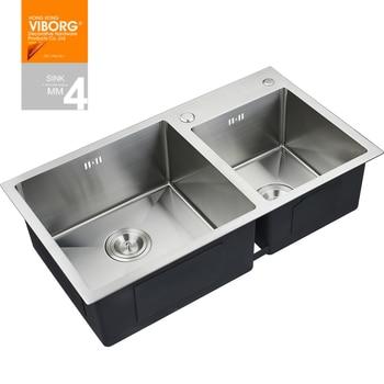 лучшие кухонные смесители   (780x430x220 мм) VIBORG Deluxe ручная работа сверхтолстая 304 нержавеющая сталь Верхнее Крепление Двойная чаша кухонная раковина