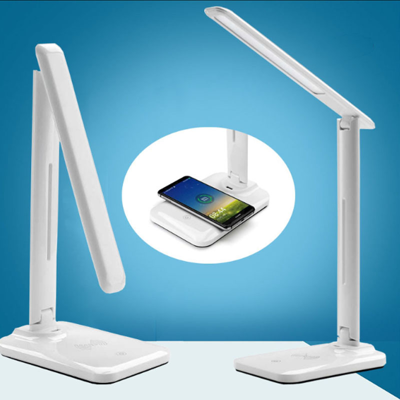 Wireless charging desk lamp For iPhone X 8 Plus Wireless Charger for Samsung Galaxy S8 S9 S7 Edge Qi USB Wireless Charger lamp все цены