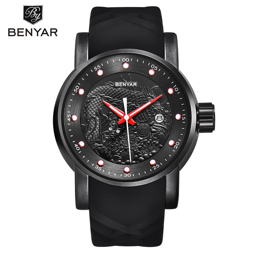 BENYAR Sport Men Watches Fashion Military Auto Date Rubber Japanese Quartz Watch Clock Man Wristwatch Relogio Masculino BY-5115M 2017 new top fashion time limited relogio masculino mans watches sale sport watch blacl waterproof case quartz man wristwatches