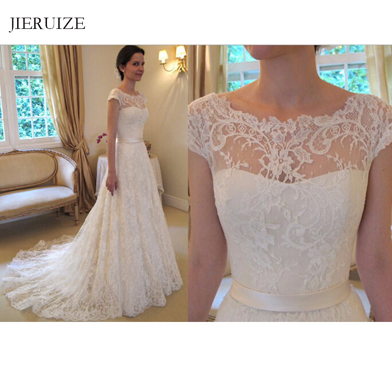 JIERUIZE White Vintage Lace Wedding Dresses 2019 A-line Buttons Wedding Gowns Bride Dresses Robe De Soiree