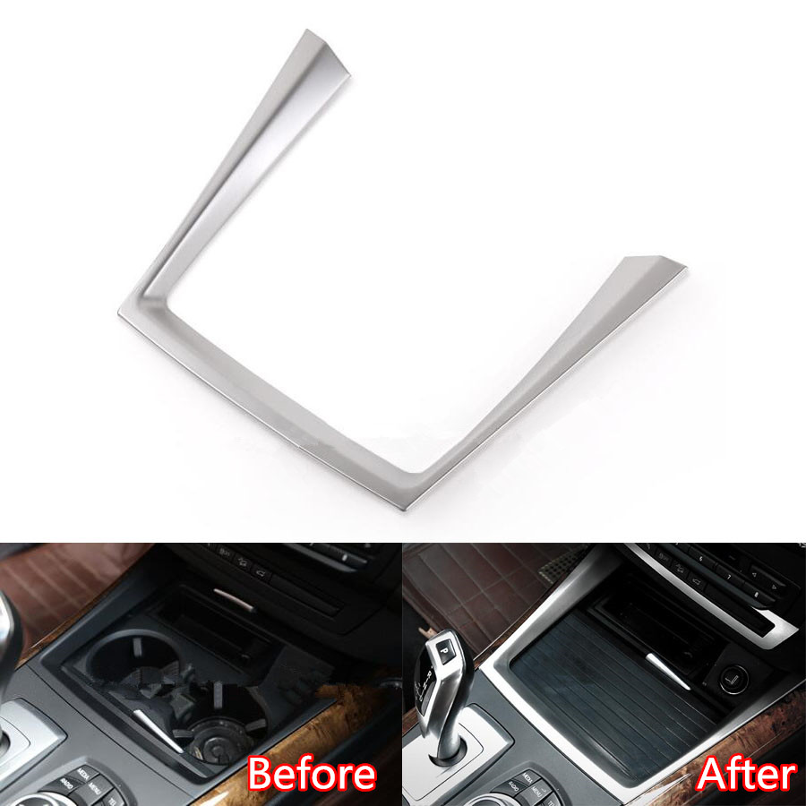 YAQUICKA Stainless Steel Car Water Cup Holder Panel Frame Trim Sticker Fit For BMW X5 E70 2008-2013 Car-styling Accessories