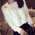 Lace Embroidery Knit Sweater Spring 2015 New Korean Female Long-Sleeved Pullover Women   Crew Neck Femme Pull