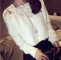Renda bordado malha camisola primavera 2015 fêmea nova coreano pulôver de mangas compridas mulheres gola Femme puxar