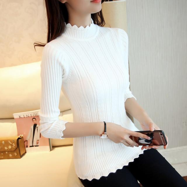 2018 new Fashion half Korean women knitted sweater slim petal collar shirt Elastic Bottoming Turtleneck Twist Pullover