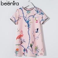 Beenira European American Style Dress 2018 Summer Children Crowned Crane Pattern Princess Dress 4 14Y Baby Girls Clothes Dress