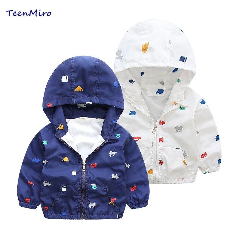 2017 Girls Jackets Kids Spring Jacket Children Coat Toddler Boys Hooded Print Car Coat Baby Thin