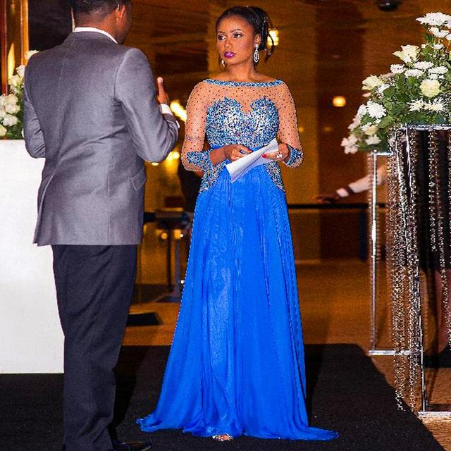 2016 elegante mulheres vestido para festa de casamento azul Caftan Sheer Chiffon de cristal vestido de manga comprida vestido de noite Formal