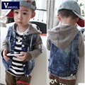 2016 autumn and winter fashion classic hot boy washed denim jacket stitching hooded jacket children