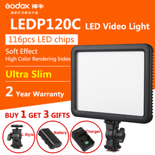 Godox Ultra Slim LED Video Lights LEDP-120C with Lithium battery Photographic Lamp 3300K~5600K for Nikon Canon Camera DVR