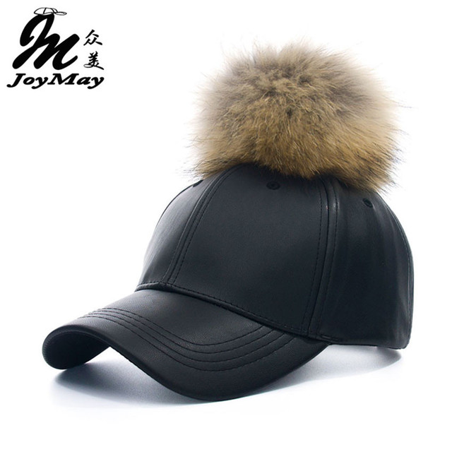 2016 New real fur pom pom cap for women Spring candy color PU baseball cap with real fur pom poms brand new female cap B310