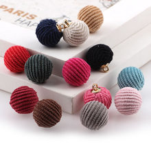 Mix Color 20PC 15MM Corduroy Circular Pierced Bead Pendants Plush Beads DIY Korean Jewelry Necklace Materials Accessories(China)