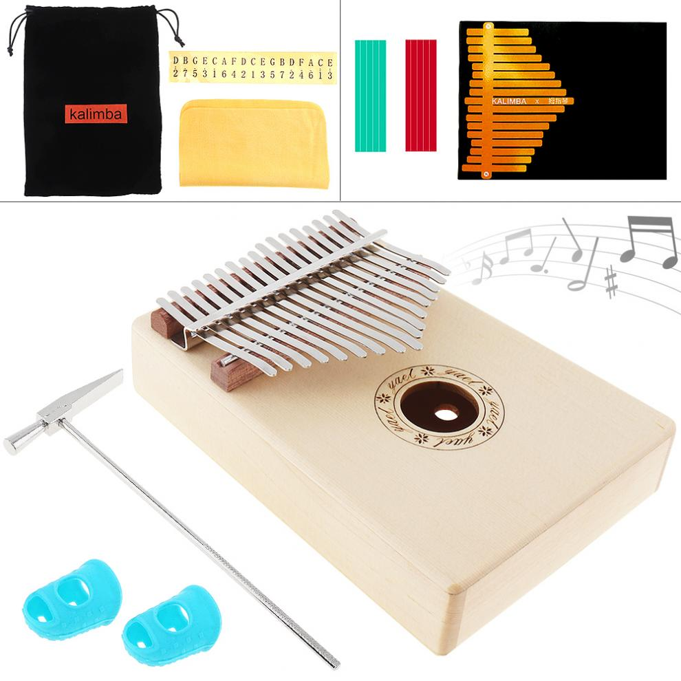 Home 17 Key Mini Keyboard Instrument Kalimba Solid Spruce Wood Thumb Piano Mbira Natural With 7pcs Accessories Extremely Efficient In Preserving Heat