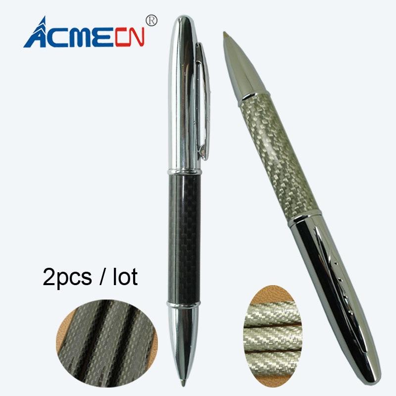 2pcs / lot Rotating Version Carbon Fiber Couple Ball Pen Kits Classic Office & School Writing Instrument Black & Silver Twin Pen [sa]takenaka frs2053 fiber line genuine 2pcs lot