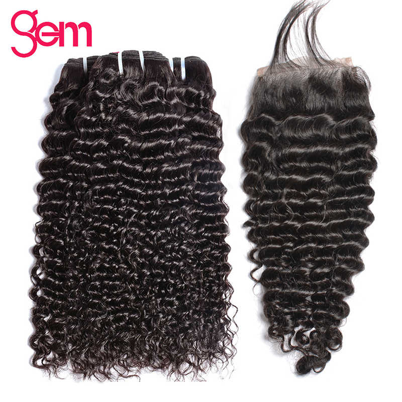 Очень кудрявые пряди с бразильские волосы с закрытием пучки волос плетение с закрытием GEM-Реми 3/4 человеческие волосы пучки волос с закрытием