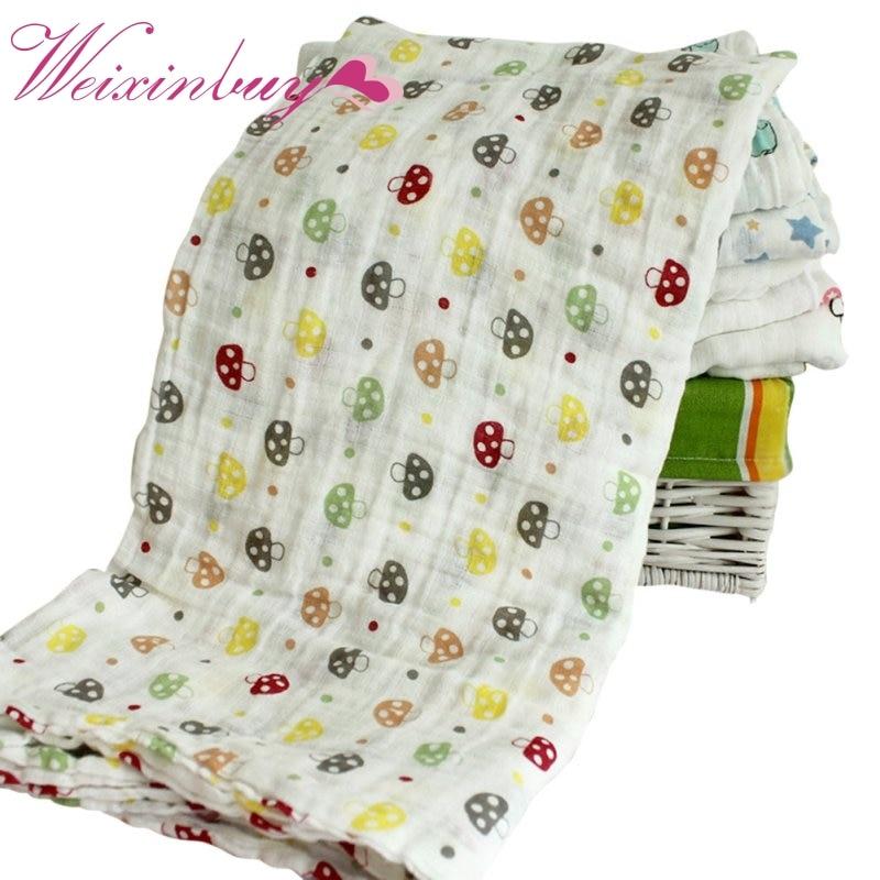 120x120cm Winter Gauze Baby Cartoon Cute Swaddling Blanket Newborn Infant Cotton Autumn Warm Swaddle Towel
