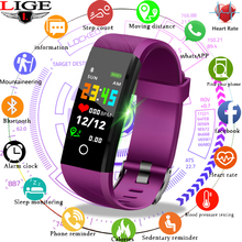 LIGE Sport Smart Wristband Bluetooth Bracelet IP67 Waterproof Fitness Tracker LED Color Screen Heart Rate Blood Pressure Monitor недорого