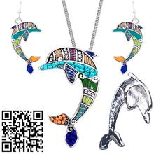1set Dolphin Necklace Earring Set Alloy Unique Design Party Gift Animal Pendant Jewelry Sets Rainbow Charm Accessories